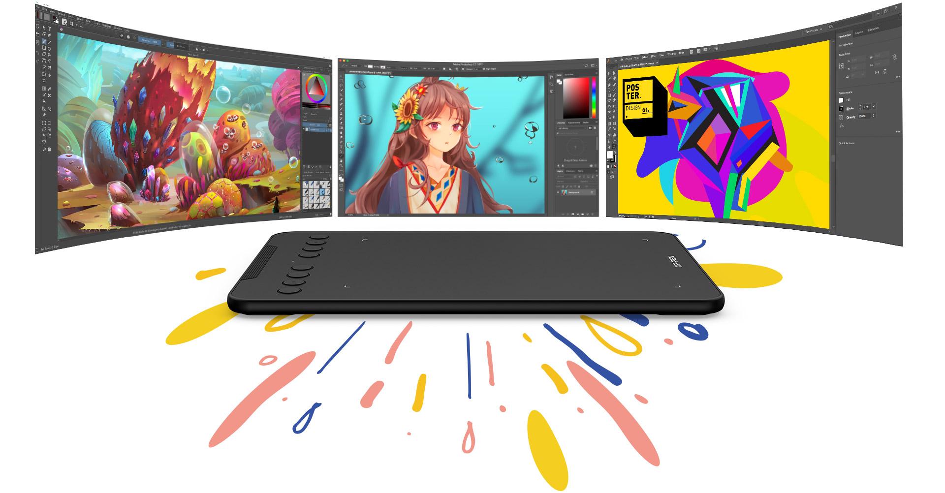 tableta digital XP-Pen Deco mini7 compatible con Windows , MAc OS y software de arte digital popular