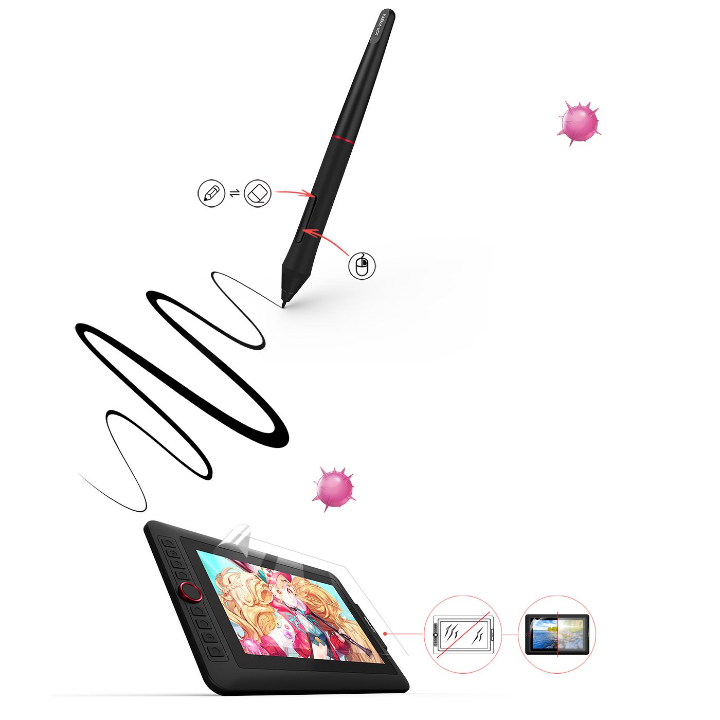 XP-Pen Artist 13.3 Pro tableta Con 8 teclas de acceso rápido personalizables