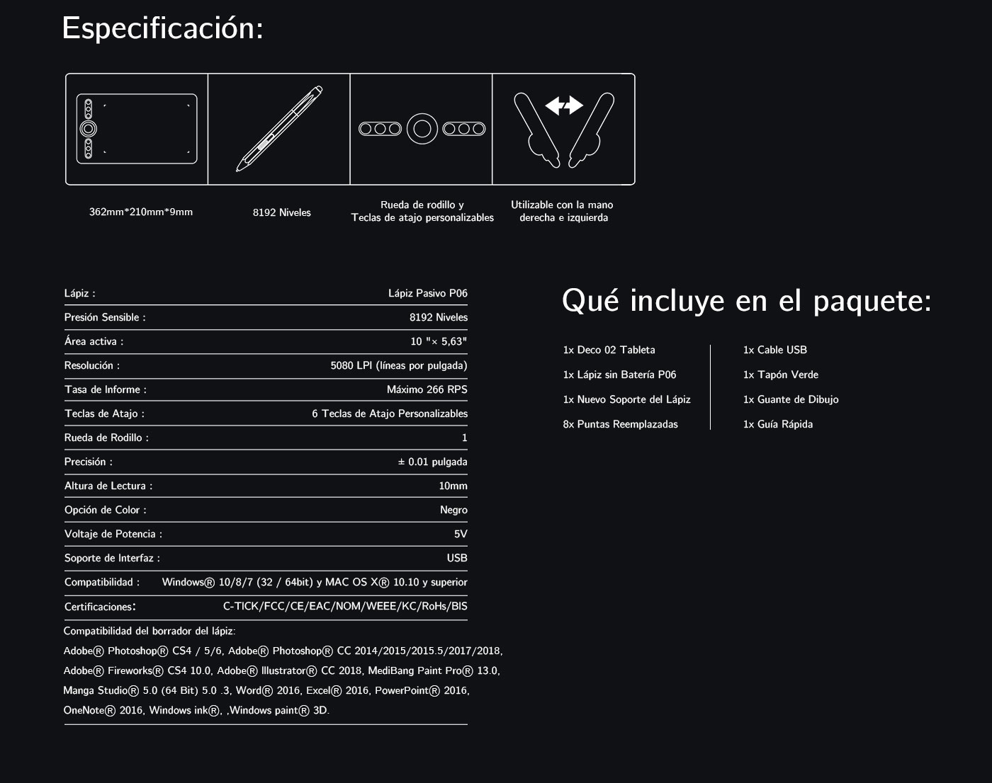 Especificaciones de tableta gráfica XP-Pen Deco 02