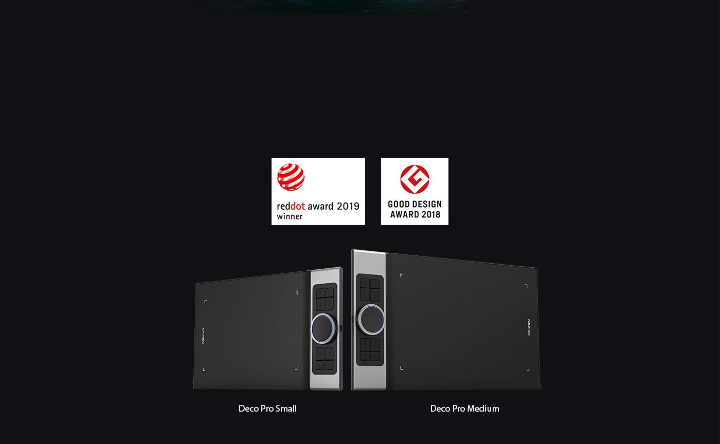 XP-Pen Deco Pro Tableta como la ganadora de Red Dot Design Award 2019 y ganadora Good Design Award 2018