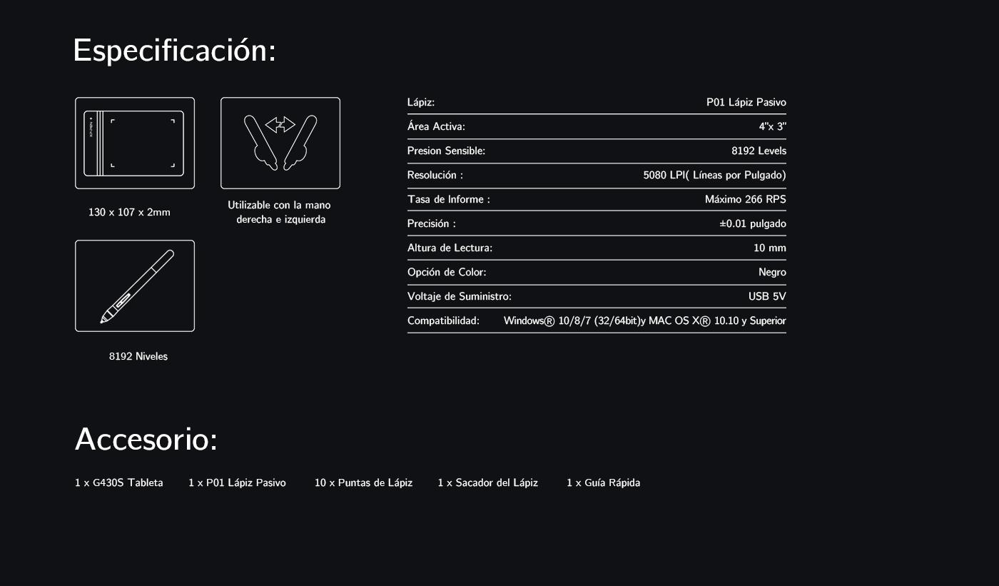 Especificaciones de pantalla gráfica XP-Pen Star G430S