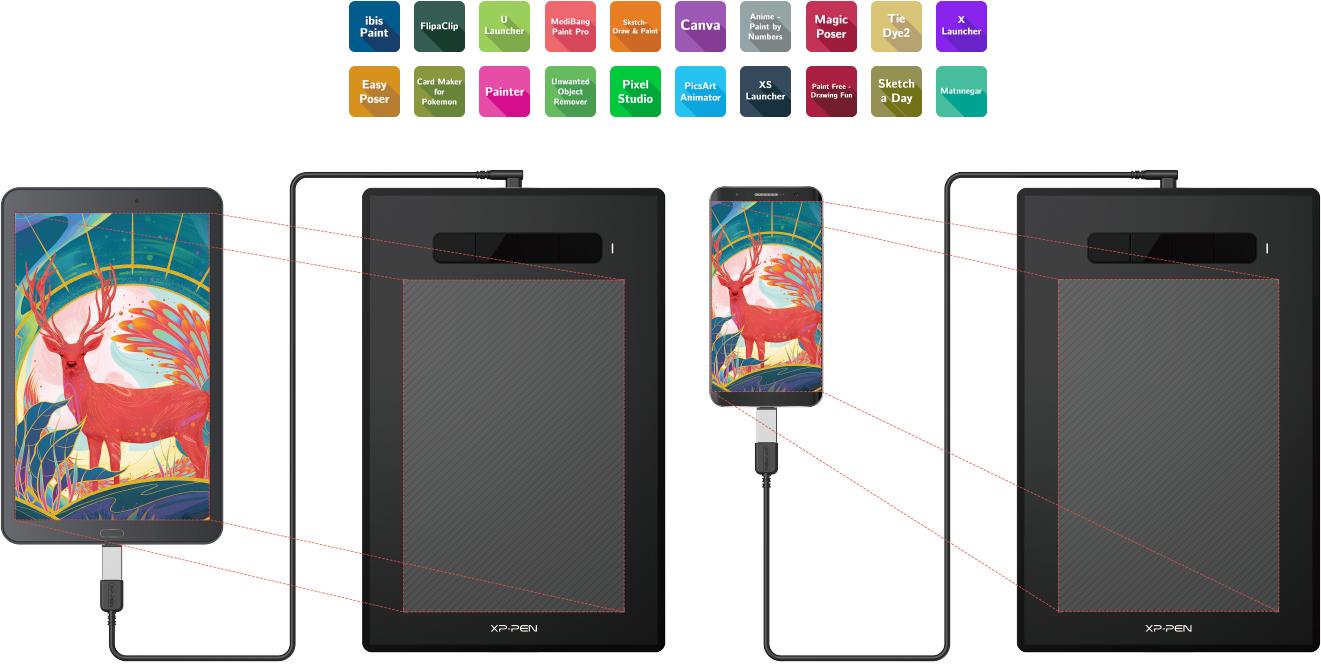 tableta gráfica XP-Pen Star G960S/Star G960S Soporta conexiones con dispositivos Android