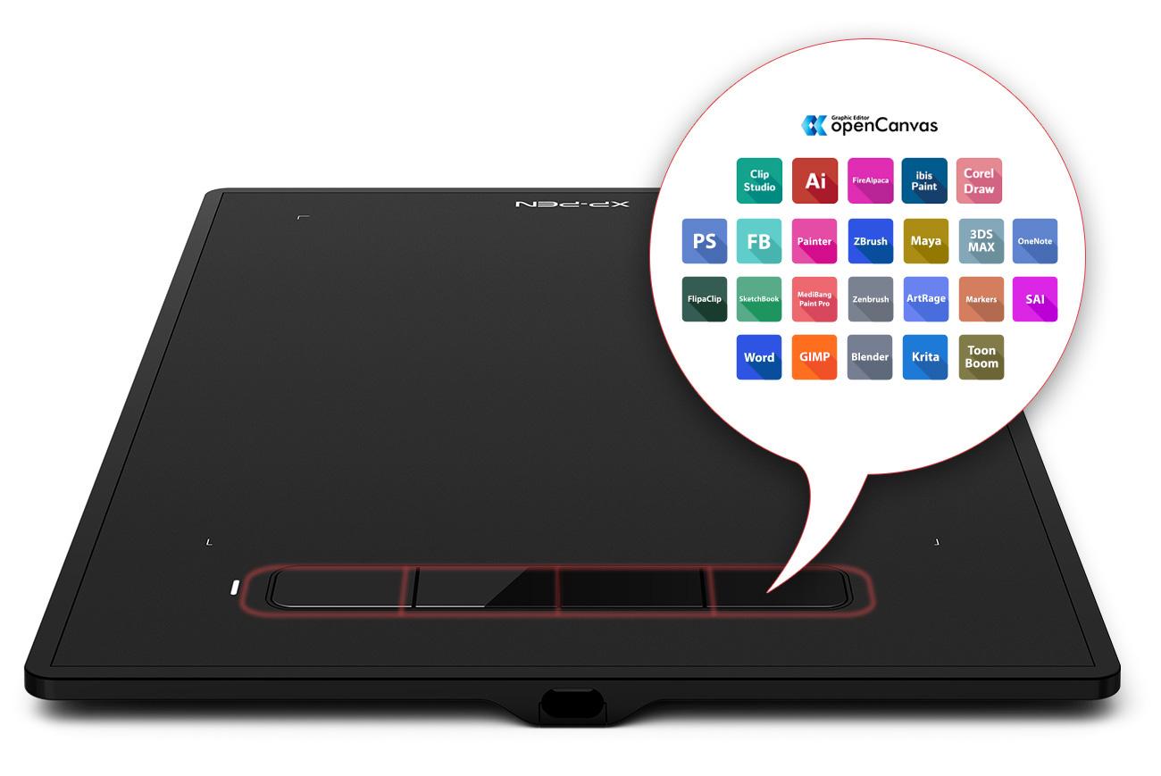 tableta gráfica XP-Pen Star G960S y Star G960S Plus Con 4 teclas de atajo personalizables